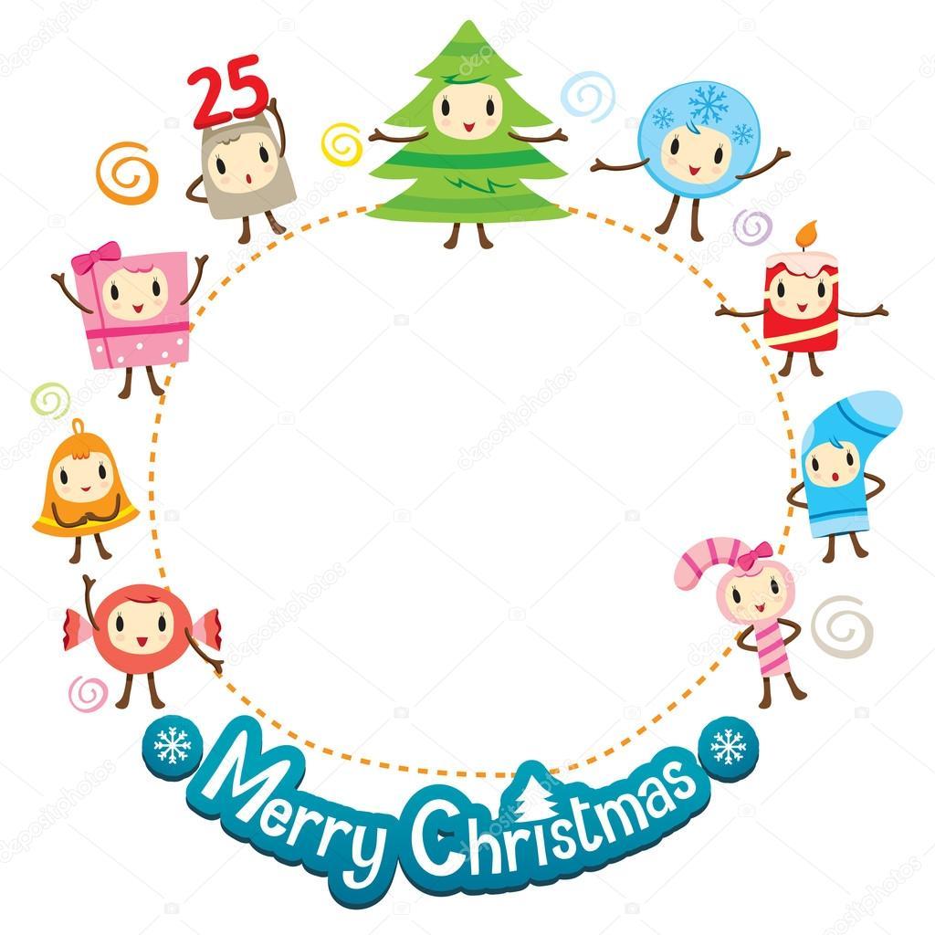 Navidad adornos diseño conjunto en el marco del círculo — Archivo ...