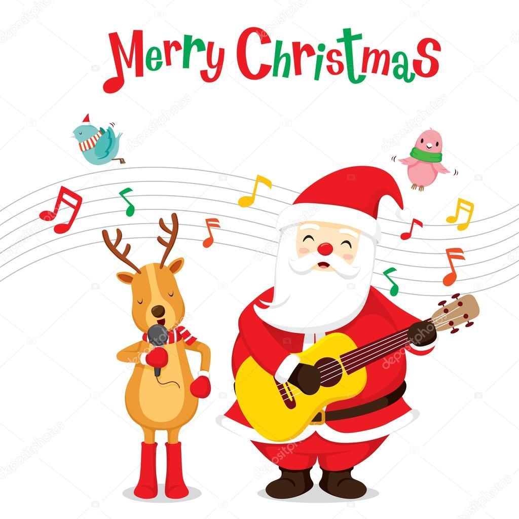 Rentiere und Weihnachtsmann singen und Gitarre spielen — Stockvektor ...