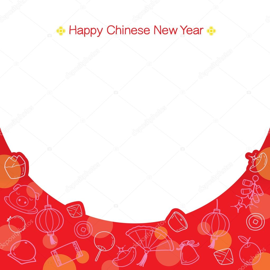 chinese new year frame with outline icons stock vector