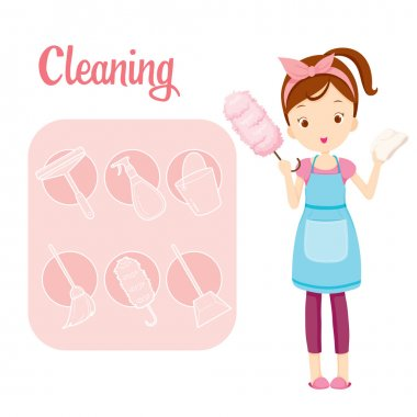Girl With House Cleaning Equipment And Outline Icons Set
