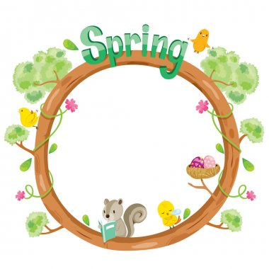 Tree With Animal On Circle Frame