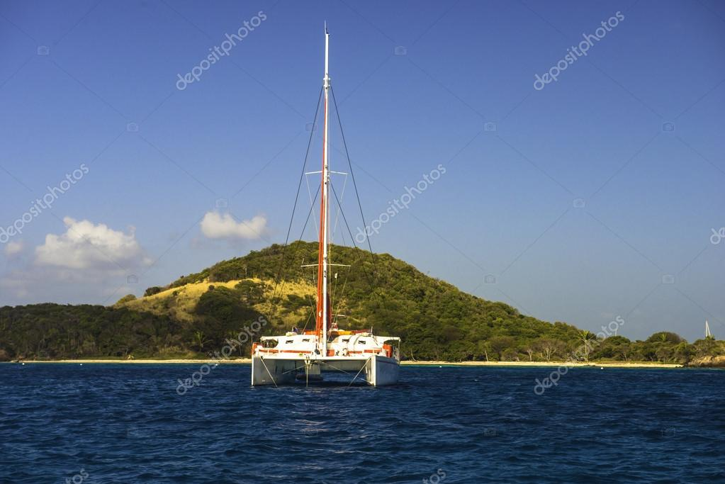 catamaran anchored in harbor