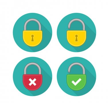 Yellow lock icon set