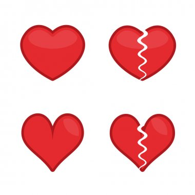 Red Hearts, Broken hearts icons set. Love, Loving heart icon. Breakup and heartbreak symbol. Simple flat vector style illustration. EPS 10. icon