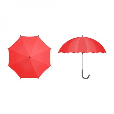 Set of Umbrellas. Red umbrella Top and Front View. Opened Parasols icon isolated on white background. Vector illustration EPS 10. icon