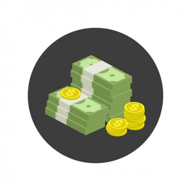 Big stacked pile of cash icon. Hundreds of dollars. Heap of cash, American dollars, pack, parcel, batch, flock, package modern design isolated on white background in flat style. icon