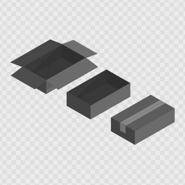 Set of vector black open and closed boxes. Empty box set isolated on transparent background. Isometric transportation package. icon