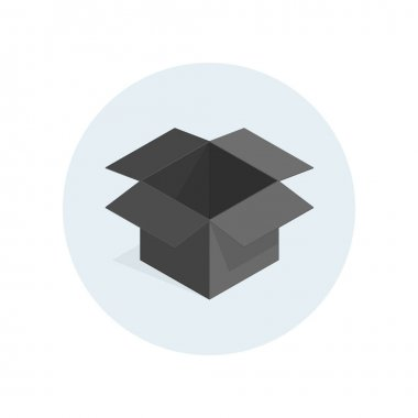 Vector black open box icon. Empty box on light background. Isometric transportation package. icon