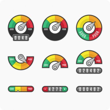 Credit score indicators and gauges.
