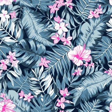 vector seamless bright gray and pink graphical tropical pattern with leaves, flowers