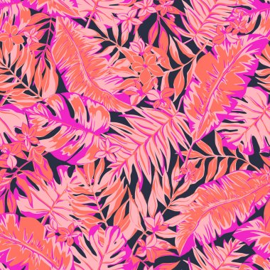 vector seamless bright graphical tropical pattern with leaves, flowers