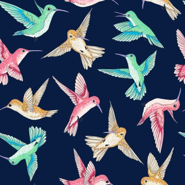 vector seamless flying little birds of paradise conversational pattern multi color