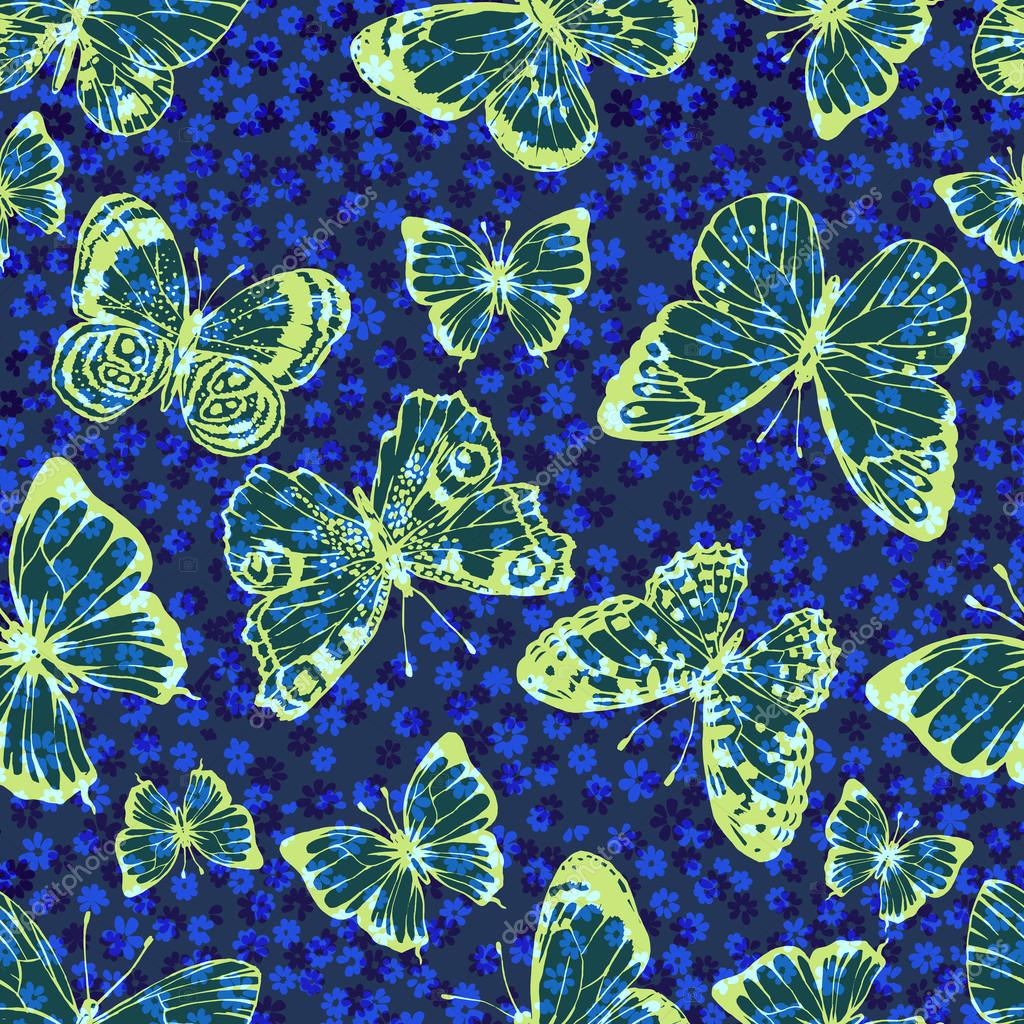 vector seamless artistic hand drawn butterfly pattern with gentle flowers.