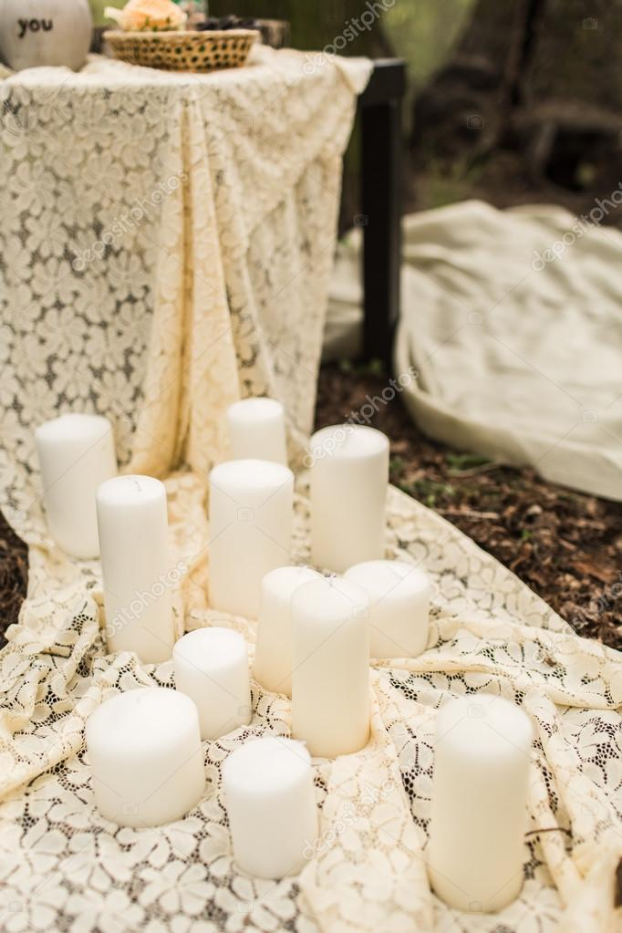 Hochzeit Dekoration Auf Boho Style Weisse Kerzen Stockfoto