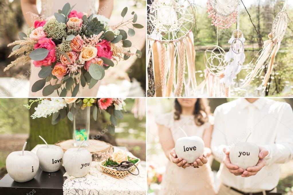 Hochzeit Dekoration Im Boho Stil Traumfanger Blumen Stockfoto