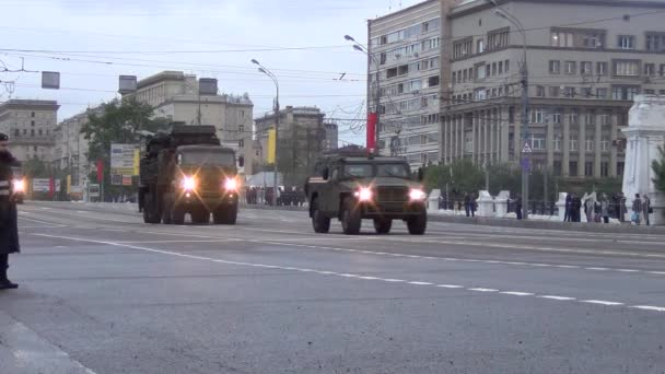 96K6 Pantsir-S1 TELAR (SA-22 Greyhound) combined short to medium range surface-to-air missile and anti-aircraft artillery weapon systems move in motorcade on Tverskaya Zastava square during night rehearsal of parade devoted to Victory Day on May 5, 2