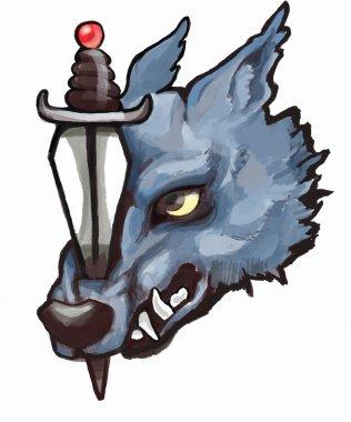 Roaring wolf mascot