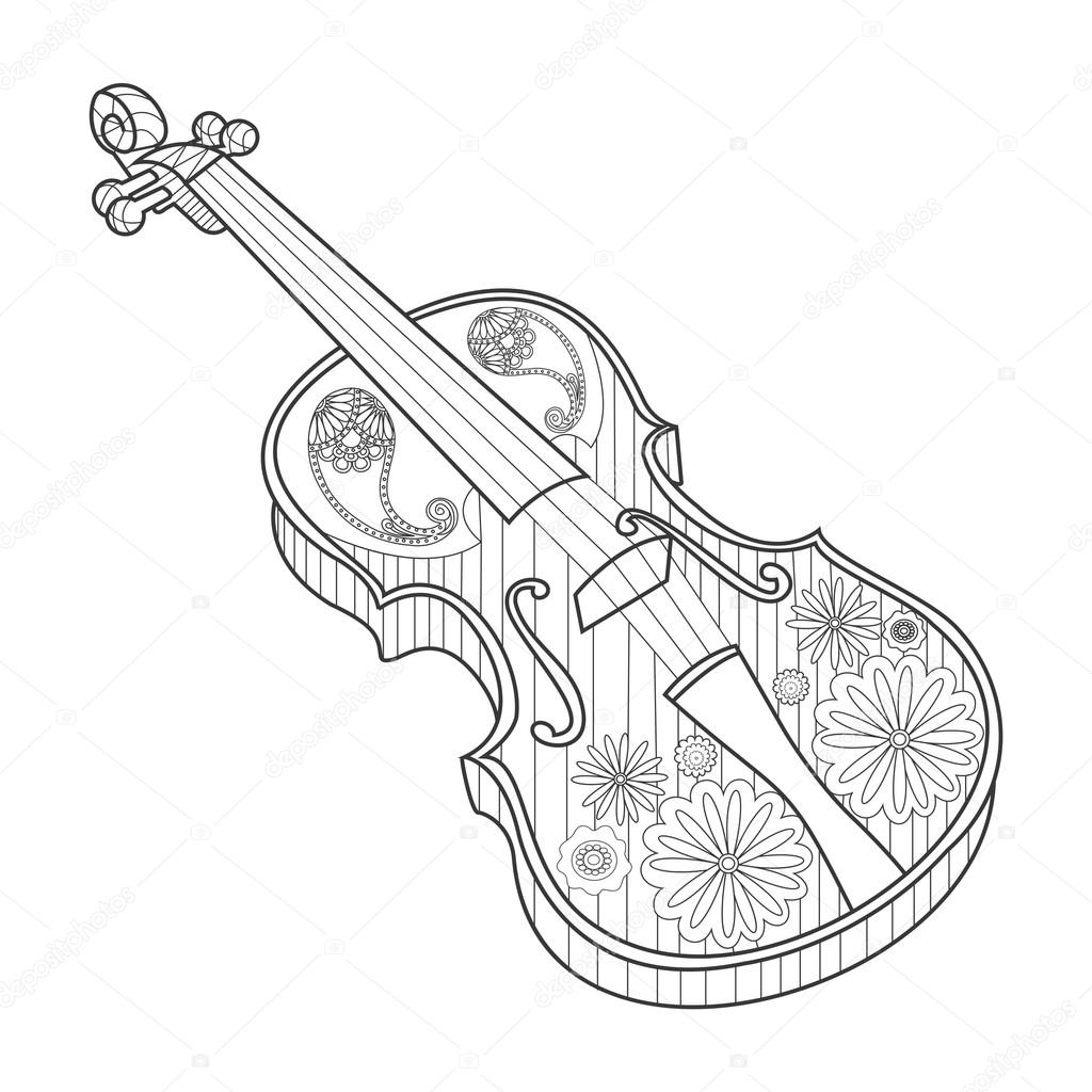 Coloring for adults violin vector illustration — Stock ...