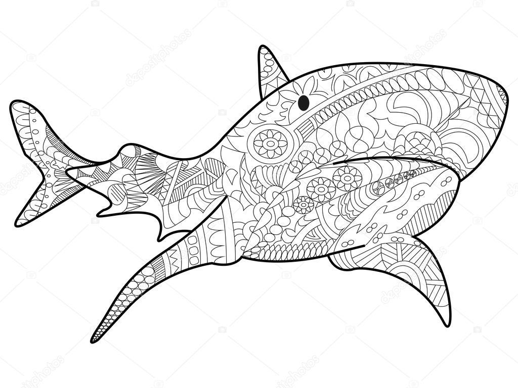 Köpekbalığı Boyama Vektör Yetişkinler Için Stok Vektör