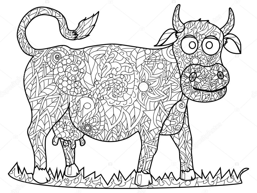 Cow coloring pages for adults | Cow Coloring vector for ...