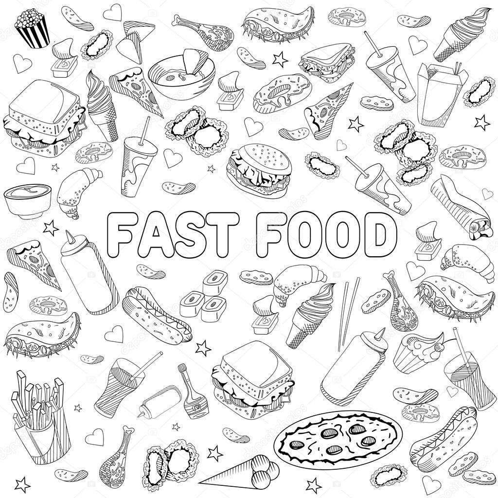 - Fast Food Coloring Book Design Vector Line Art — Stock Vector