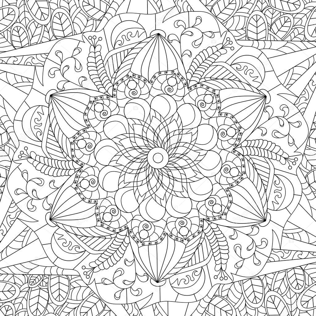 Vector De Mandala Para Colorear Para Adultos Archivo