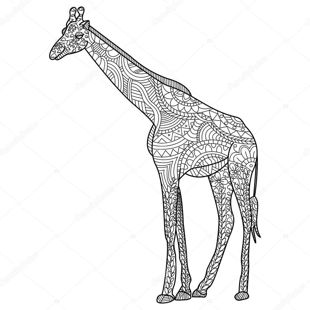 Giraffe kleuren vector voor volwassenen stockvector for Giraffe mandala coloring pages