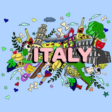 Italy line art design vector illustration