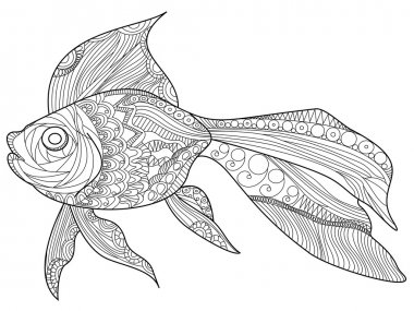 Goldfish Coloring book vector for adults