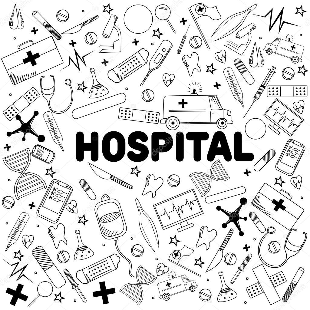 Ilustración de vector de hospital línea arte diseño — Vector de ...