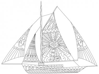 Sailing boat coloring vector for adults