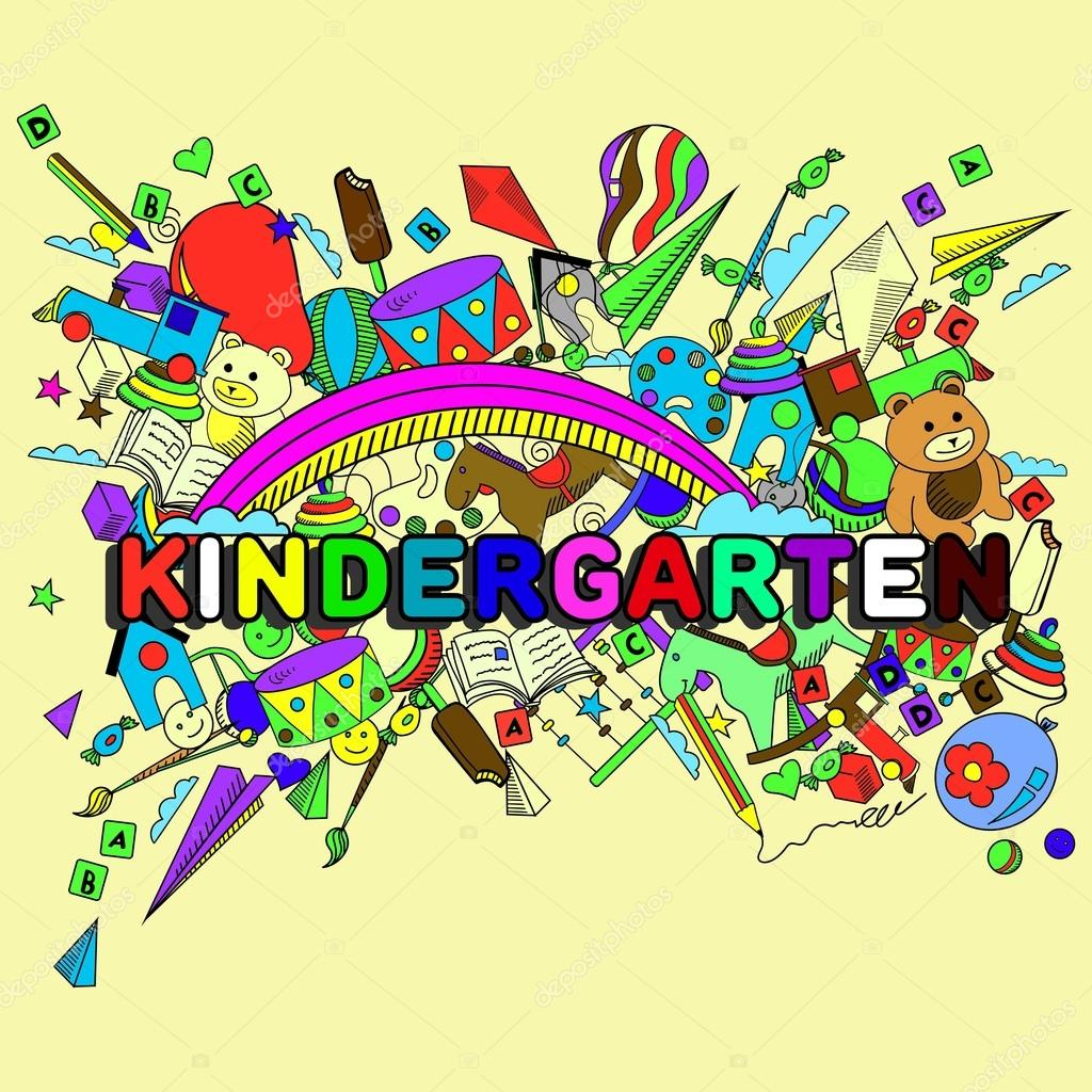 Line Drawing Kindergarten : Kindergarten line art design vector illustration — stock