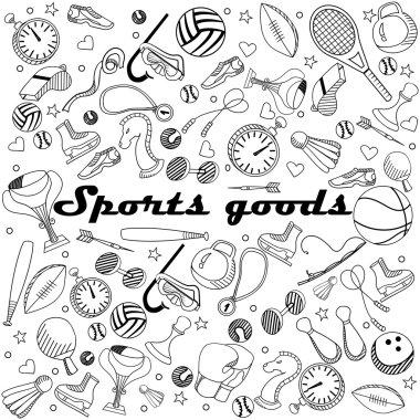 Sport goods line art design vector illustration