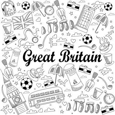 Great Britain line art design vector illustration