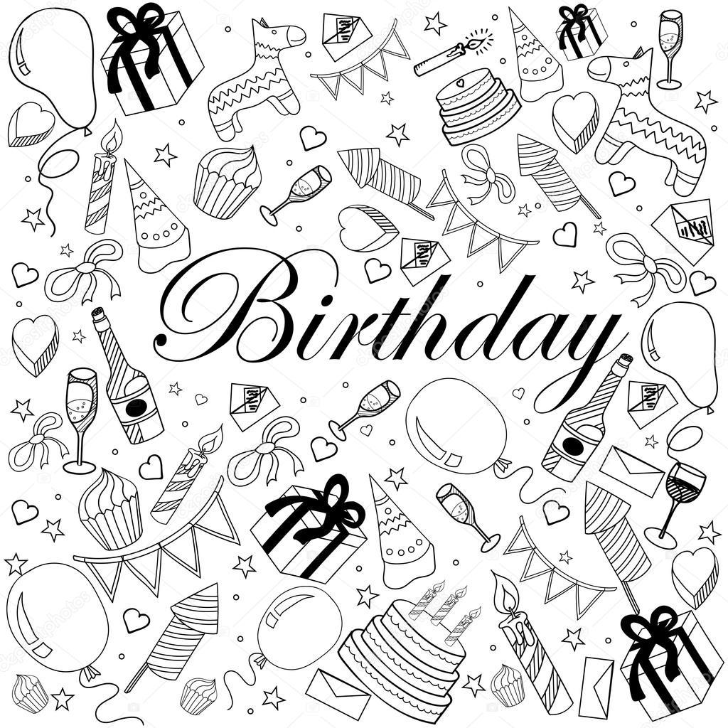 Cumpleaños para colorear ilustración vectorial del libro — Vector de ...