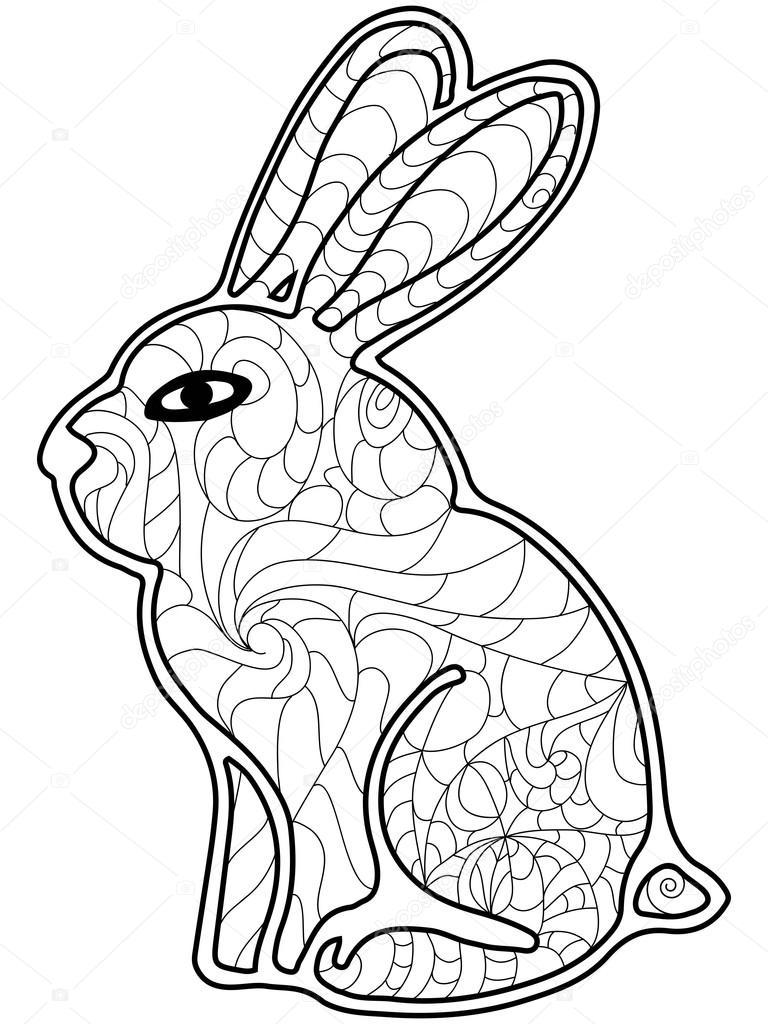 Vector de conejo para colorear para adultos — Archivo Imágenes ...