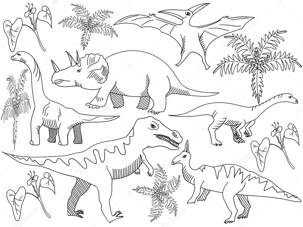 Dinosaur Coloring Book Vector For Adults Stock Vector