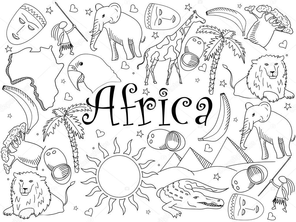 Kleurplaten Afrikaanse Dieren.Afrika Kleurplaten Boek Vectorillustratie Stockvector