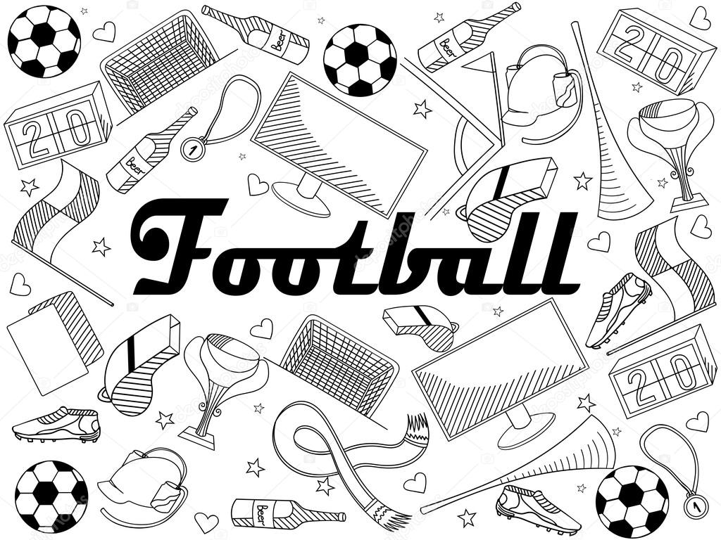 Football coloring book vector illustration — Stock Vector ...