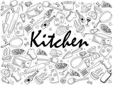Kitchen coloring book vector illustration