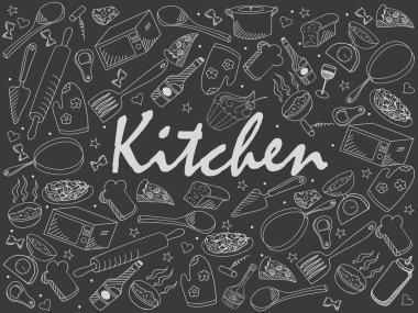 Kitchen chalk vector illustration