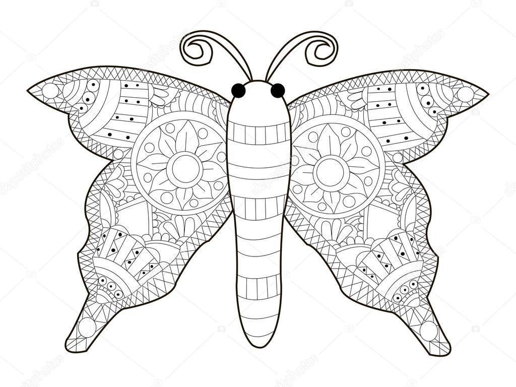 vetor de colorir borboleta para adultos vetor de stock