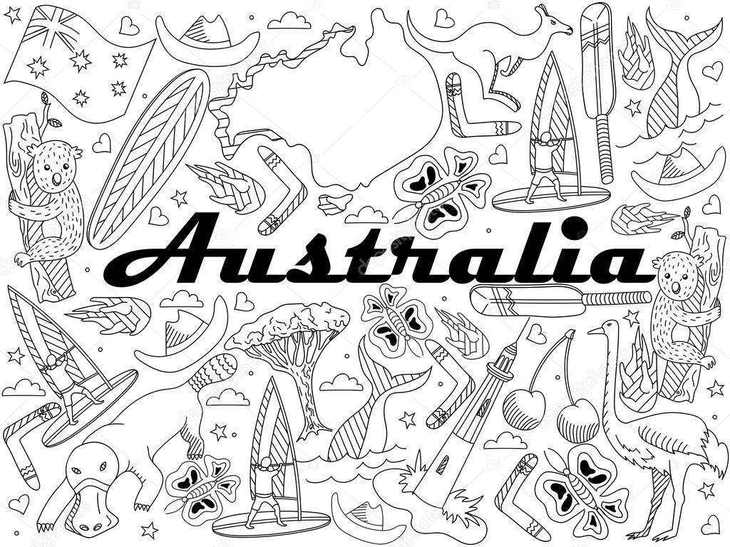 Dibujos: para pintar de fauna y flora | Australia para colorear