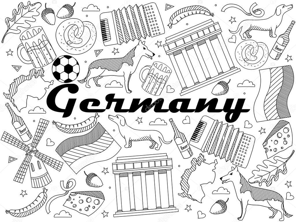 германия раскраски книги векторные иллюстрации векторное