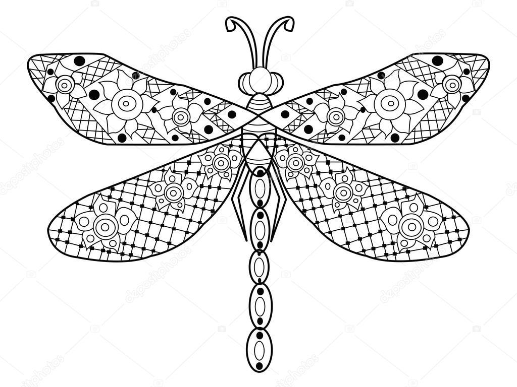 Vecteur de coloriage libellule pour adultes image - Libellule dessin ...