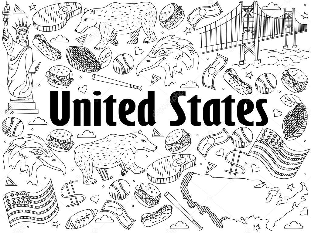 Estados Unidos para colorear ilustración vectorial del libro ...