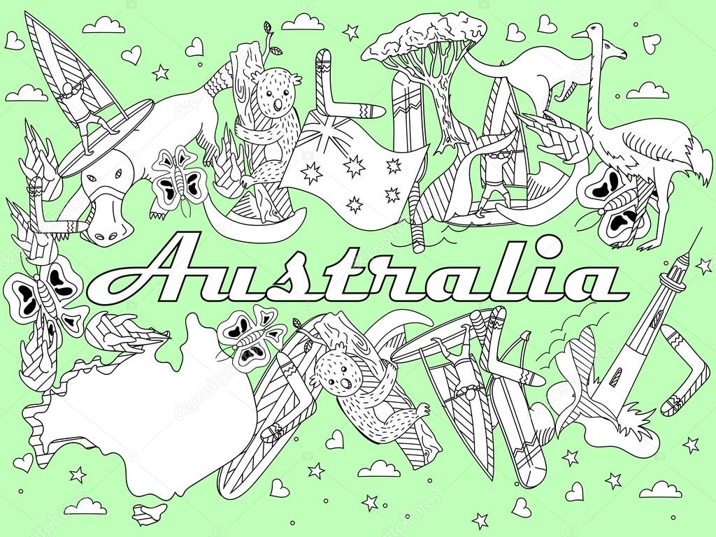 Australia para colorear ilustración vectorial — Vector de stock