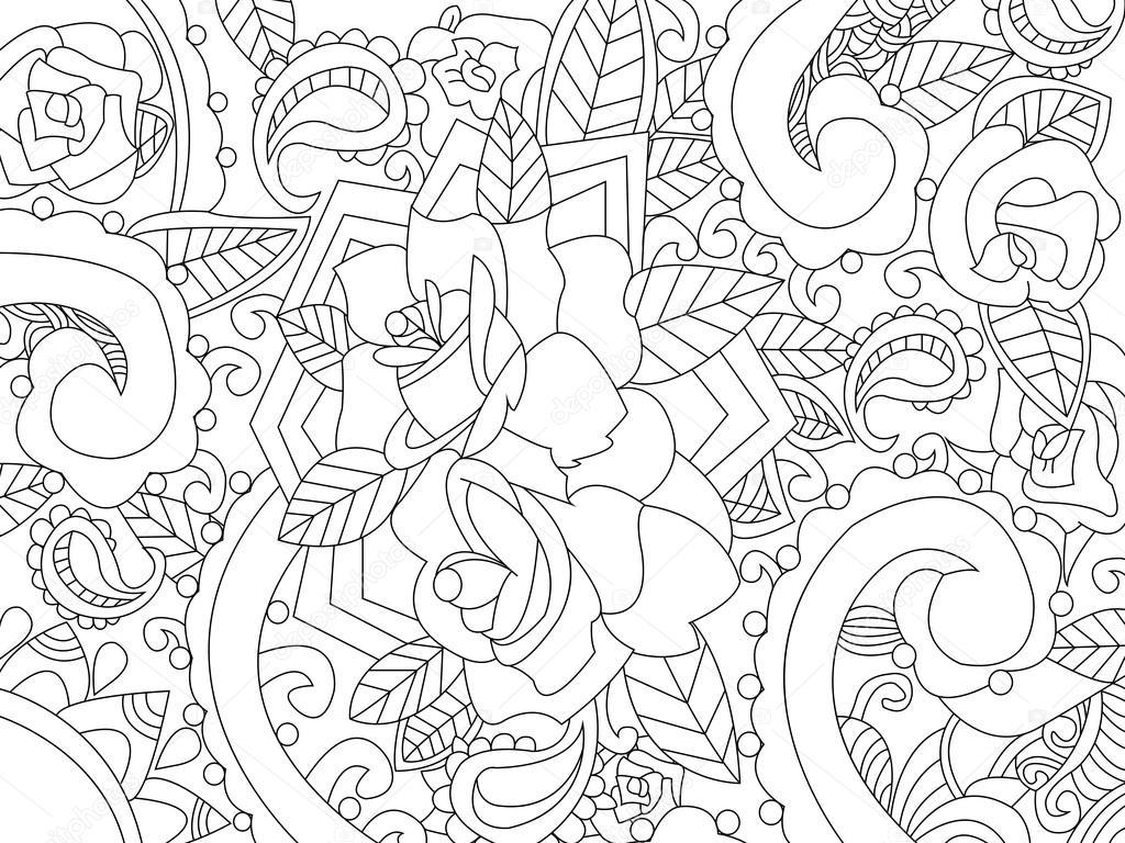 Vector de Mandala para colorear para adultos — Vector de stock ...