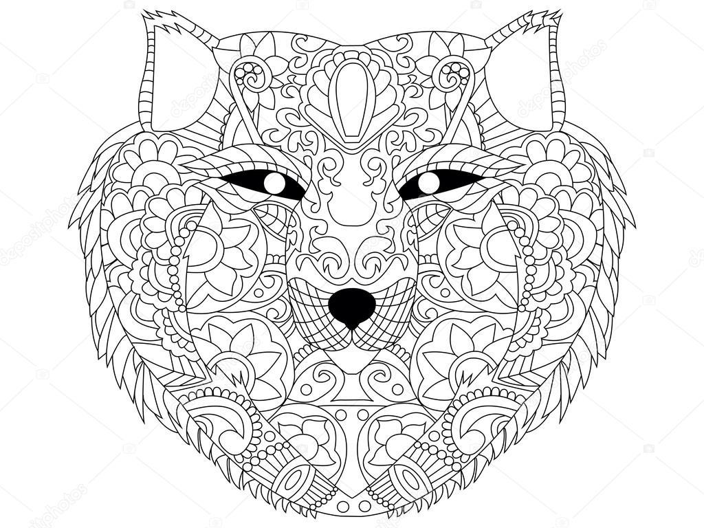 Wolf Färbung Vektor Für Erwachsene Stockvektor Toricheks2016