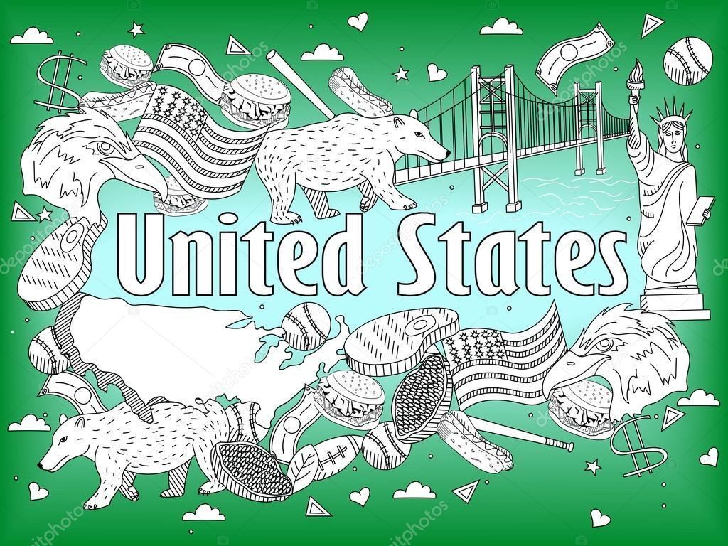 United States coloring book vector illustration — Stock Vector ...